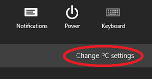 Windows 8 Backup Settings Bar with Change PC Settings Highlighted