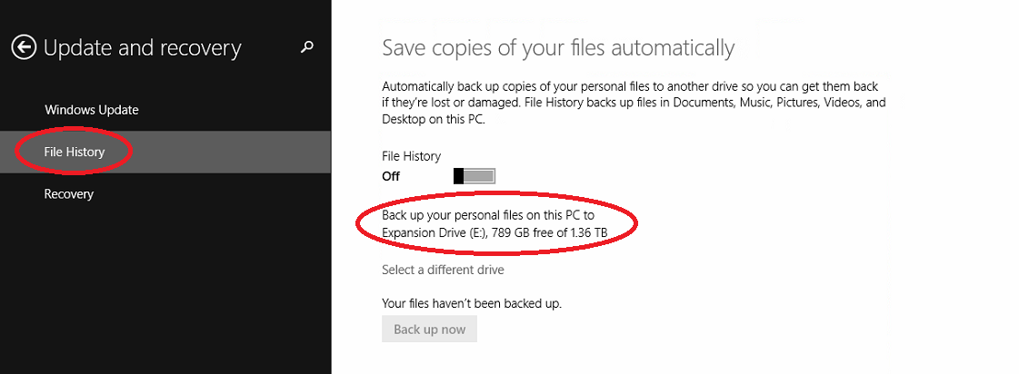 Windows 8 Backup Update and Recovery Screen with File History and the Selected Drive Highlighted