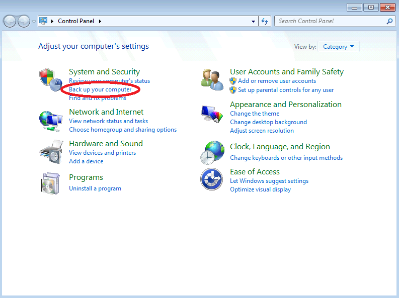 Image of Windows 7 Backup Control Panel with Backup Option Highlighted