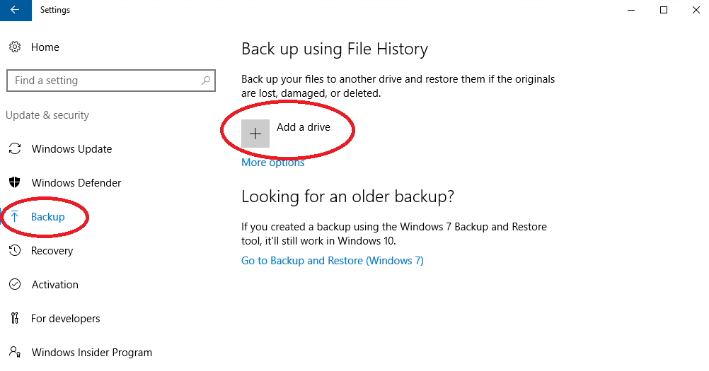 Image of Windows 10 Update and Security Settings with the Backup and Add Drive Options Highlighted