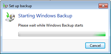 Image of Windows 7 Backup Starting Windows Backup Screen
