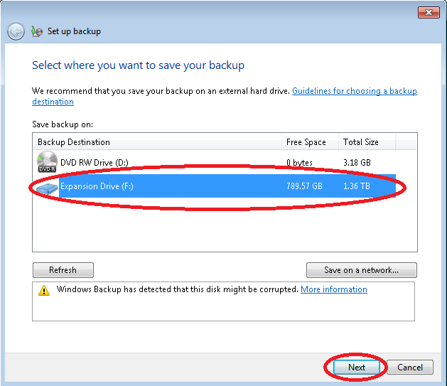 Image of Windows 7 Backup Wizard Select a Drive Screen with USB Drive and Next Buttons Highlighted