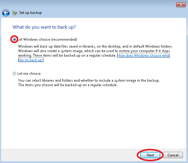 Image of Windows 7 Backup Wizard with Default Windows Selection and Next Button Highlighted