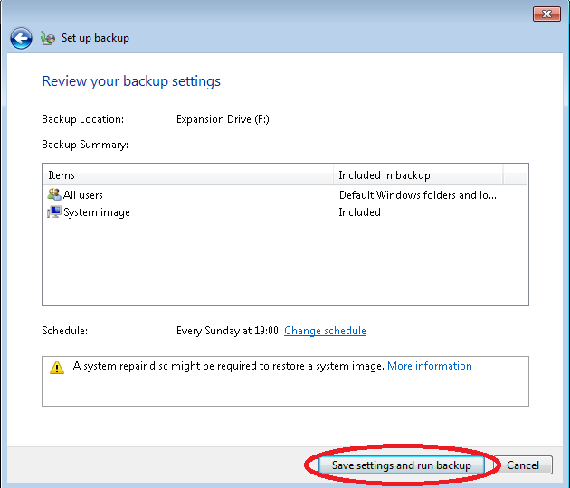 Image of Windows 7 Backup Wizard with Save Settings and Run Backup Button Highlighted